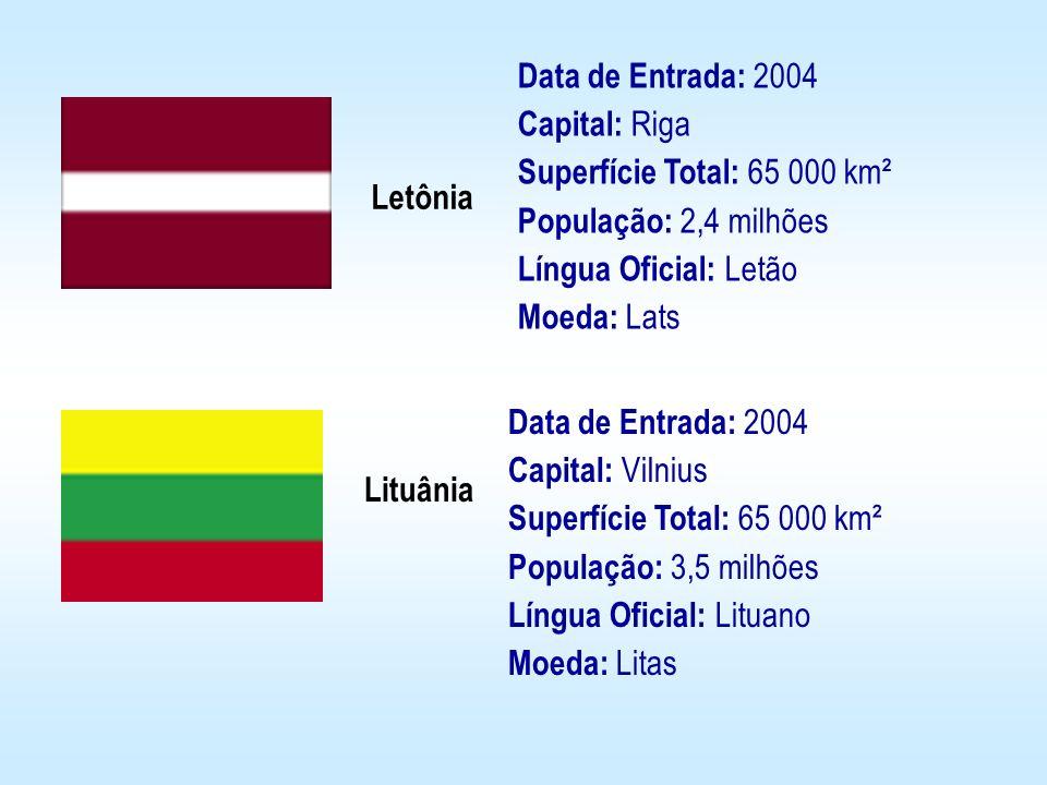 Data de Entrada: 2004 Capital: Riga Superfície Total: 65 000 km² População: 2,4 milhões Língua Oficial: Letão Moeda: Lats
