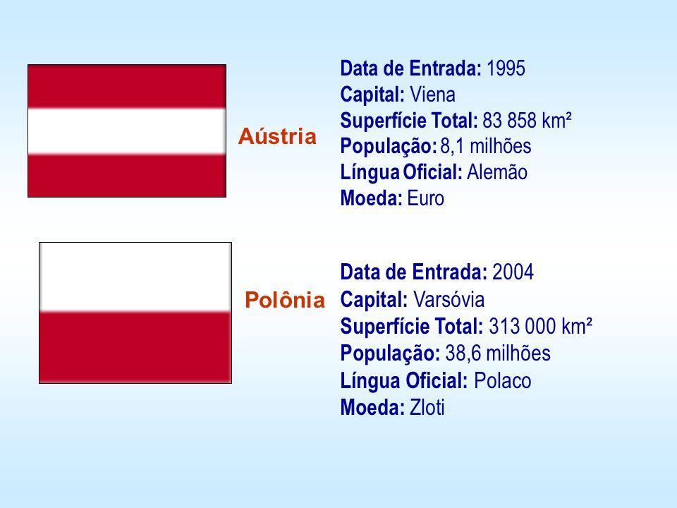 Data de Entrada: 1995 Capital: Viena Superfície Total: 83 858 km² População: 8,1 milhões Língua Oficial: Alemão Moeda: Euro