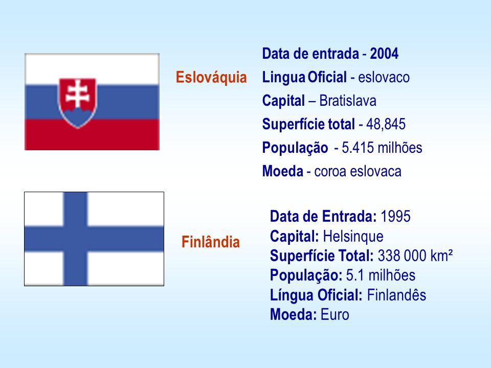 Data de entrada - 2004 Lingua Oficial - eslovaco. Capital – Bratislava. Superfície total - 48,845.