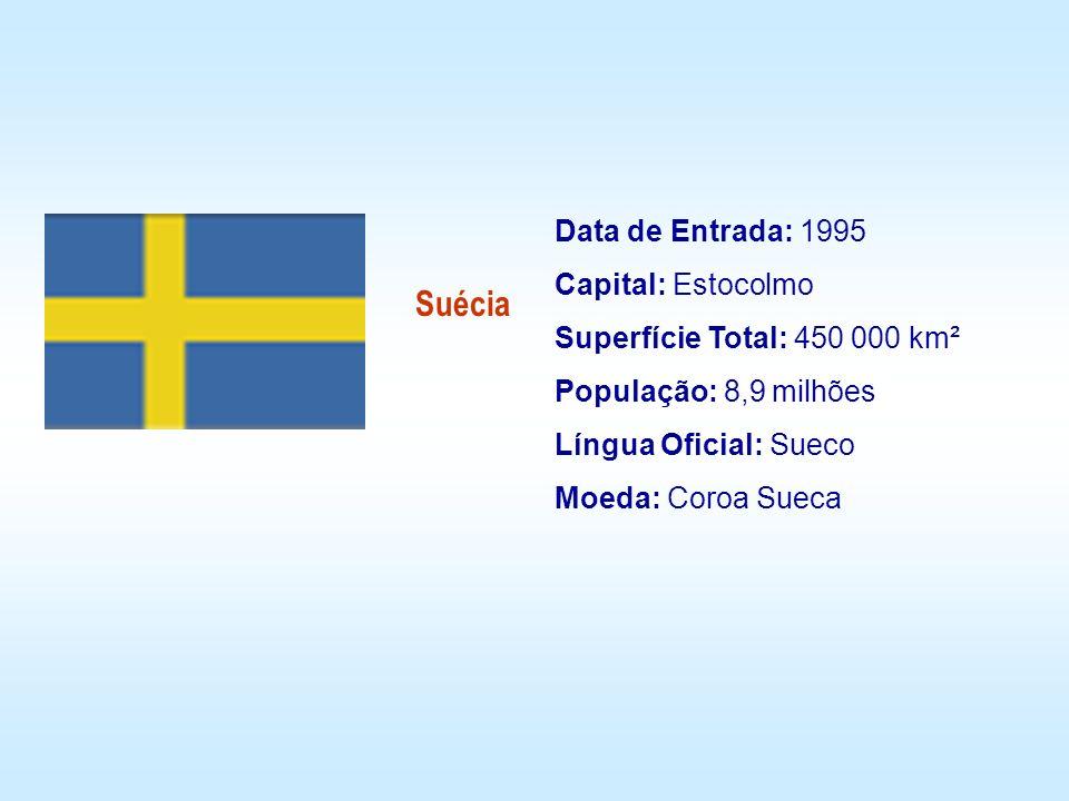 Data de Entrada: 1995 Capital: Estocolmo Superfície Total: 450 000 km² População: 8,9 milhões Língua Oficial: Sueco Moeda: Coroa Sueca