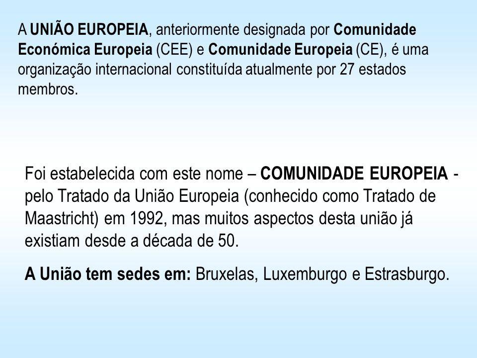 A União tem sedes em: Bruxelas, Luxemburgo e Estrasburgo.