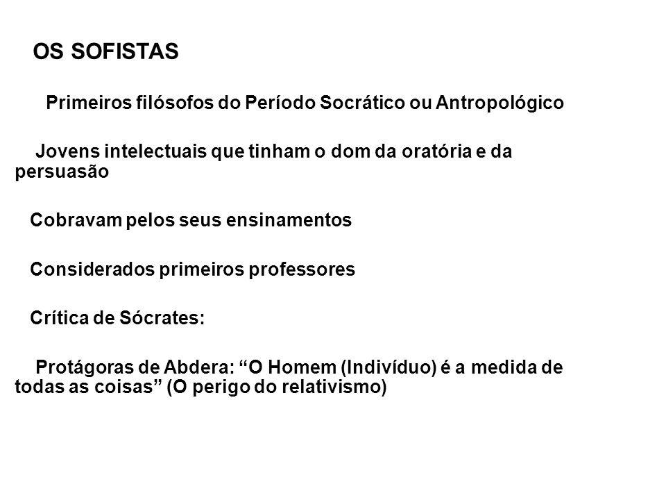 OS SOFISTAS Primeiros filósofos do Período Socrático ou Antropológico