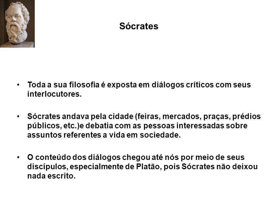 Sócrates Toda a sua filosofia é exposta em diálogos críticos com seus interlocutores.