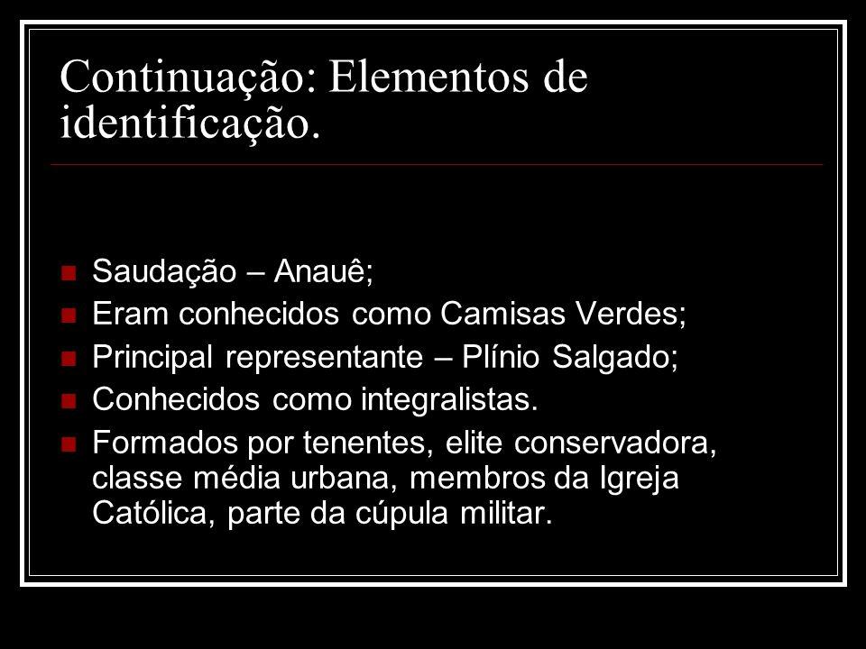 Continuação: Elementos de identificação.