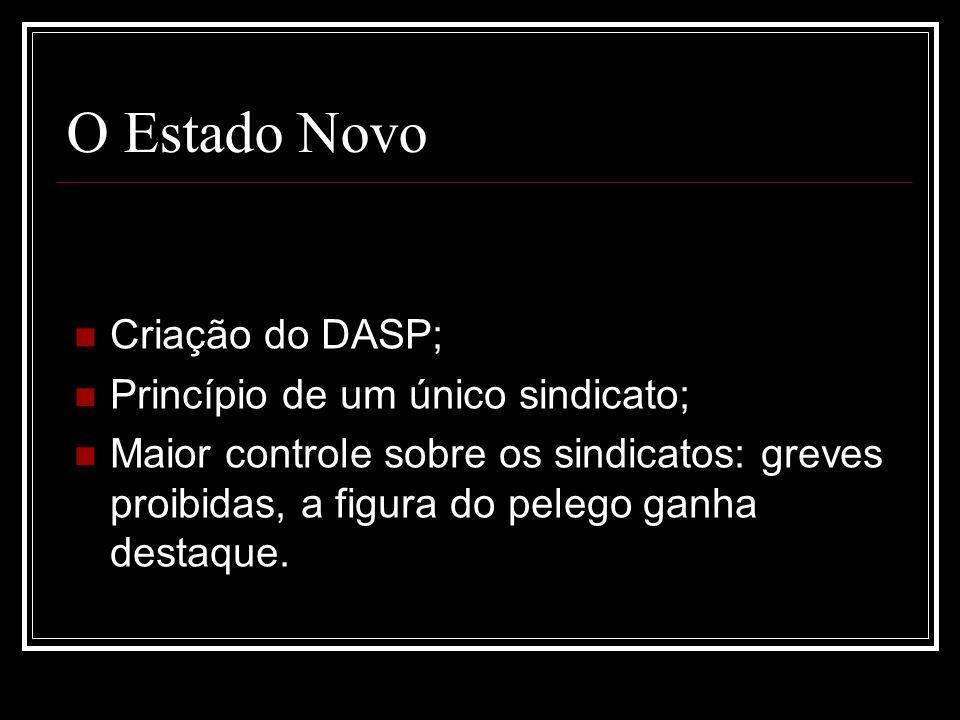 O Estado Novo Criação do DASP; Princípio de um único sindicato;