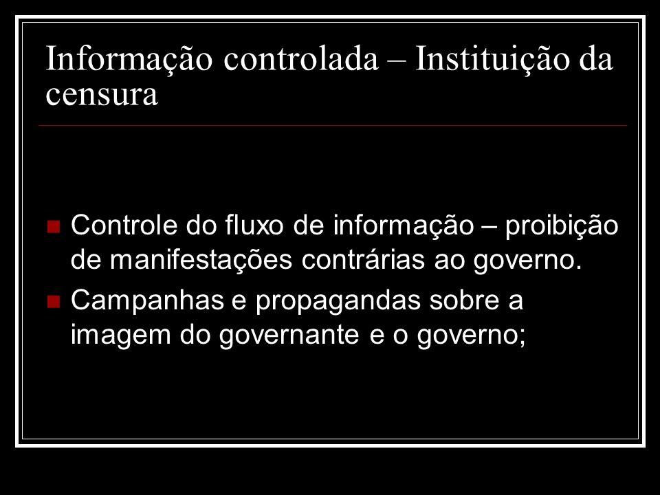 Informação controlada – Instituição da censura