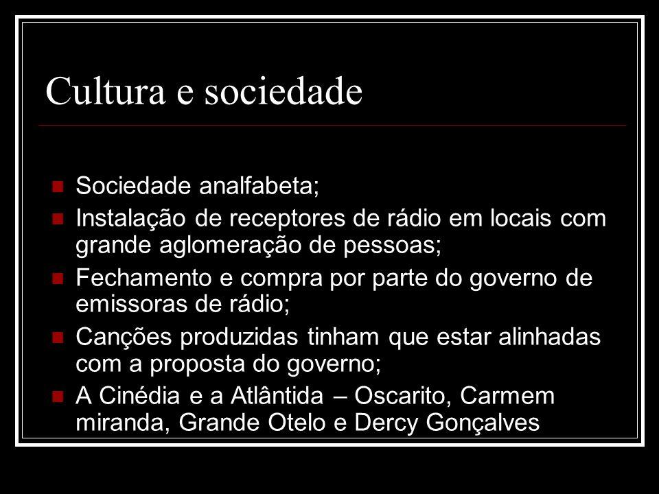 Cultura e sociedade Sociedade analfabeta;