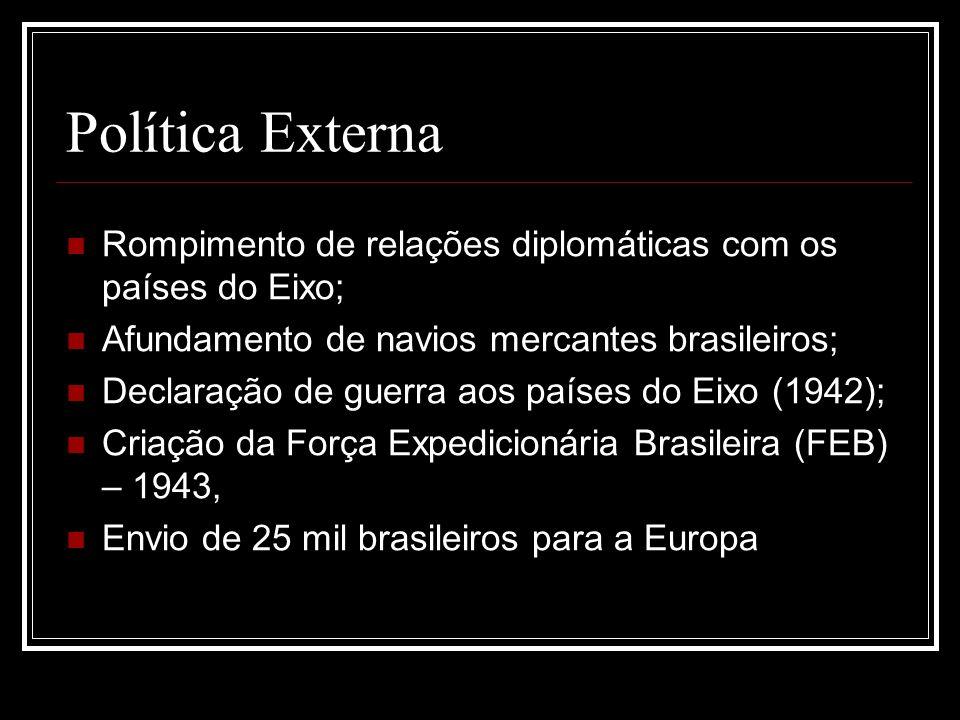 Política Externa Rompimento de relações diplomáticas com os países do Eixo; Afundamento de navios mercantes brasileiros;