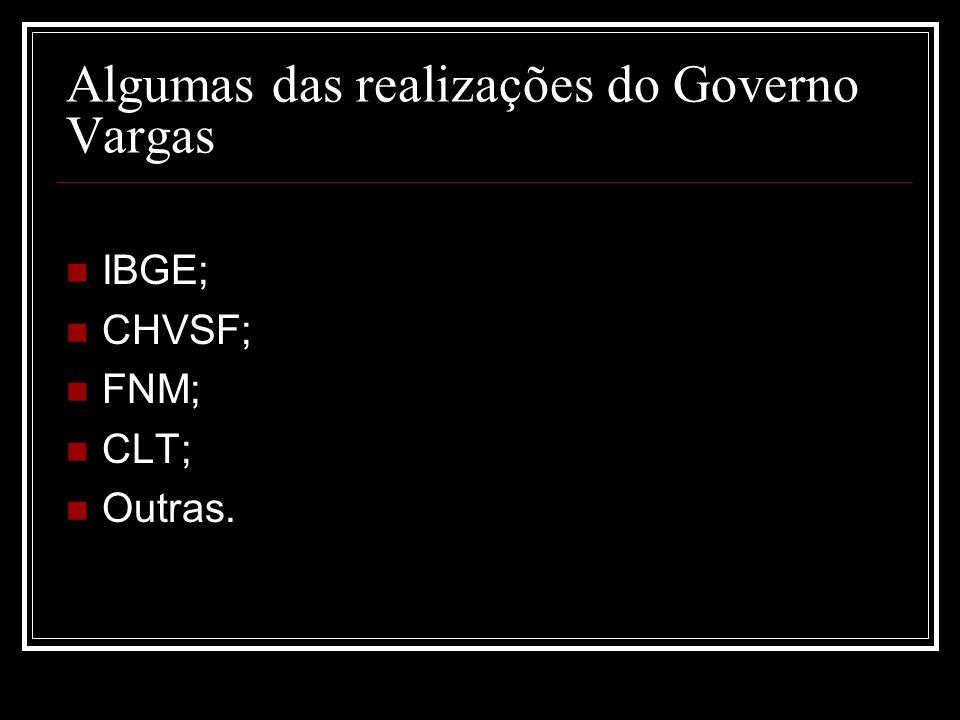 Algumas das realizações do Governo Vargas