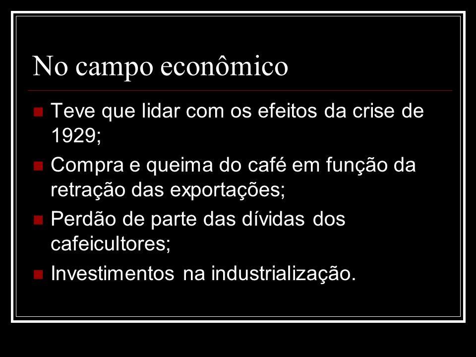 No campo econômico Teve que lidar com os efeitos da crise de 1929;