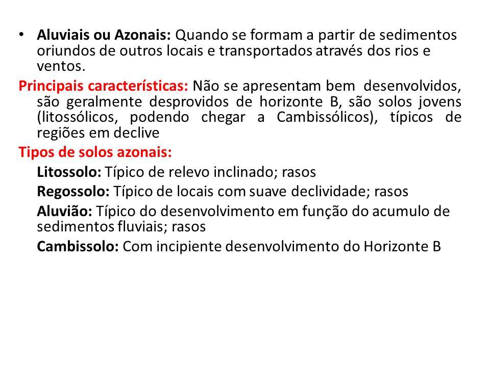 Aluviais ou Azonais: Quando se formam a partir de sedimentos oriundos de outros locais e transportados através dos rios e ventos.