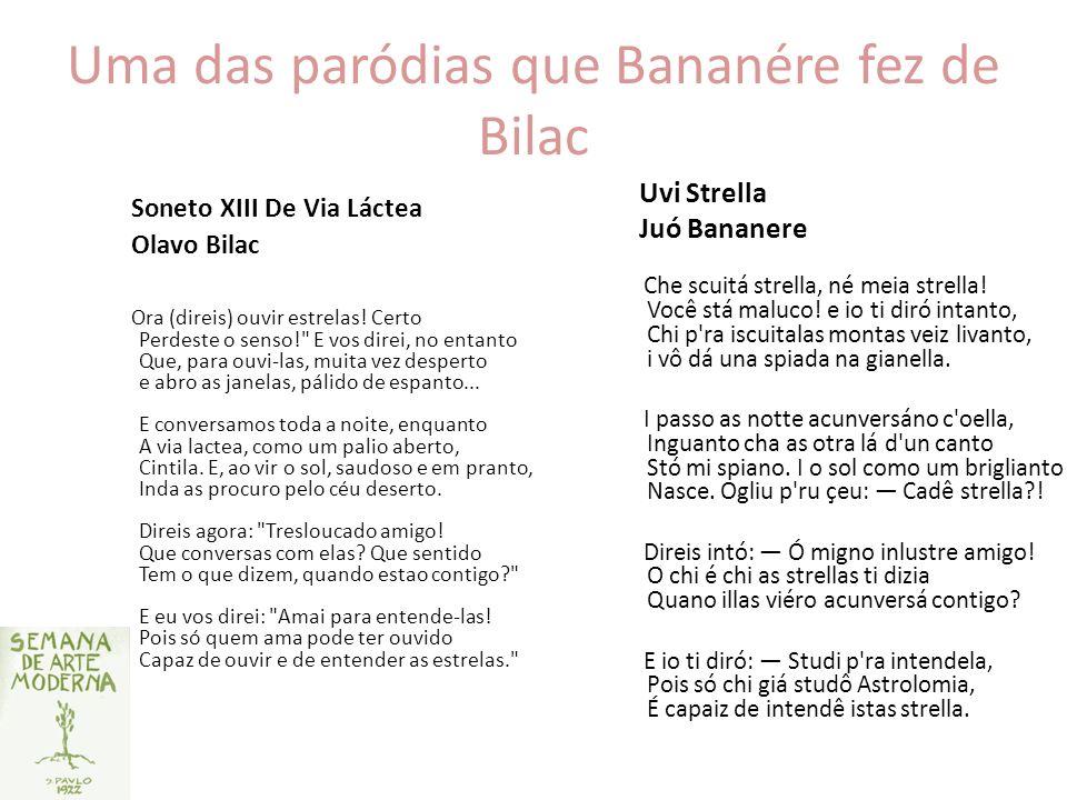 Uma das paródias que Bananére fez de Bilac