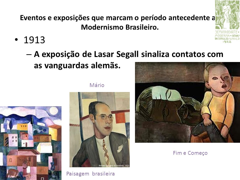 Eventos e exposições que marcam o período antecedente ao Modernismo Brasileiro.