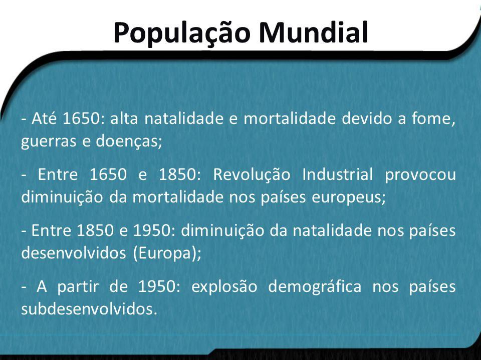 População Mundial - Até 1650: alta natalidade e mortalidade devido a fome, guerras e doenças;