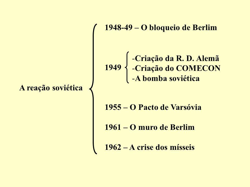 1948-49 – O bloqueio de Berlim 1949. 1955 – O Pacto de Varsóvia. 1961 – O muro de Berlim. 1962 – A crise dos mísseis.