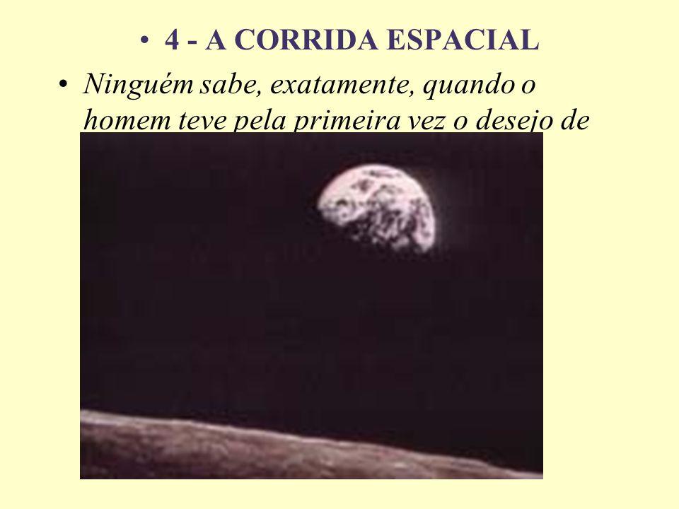 4 - A CORRIDA ESPACIAL Ninguém sabe, exatamente, quando o homem teve pela primeira vez o desejo de voar.