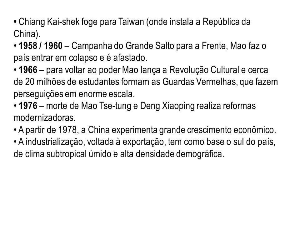 • Chiang Kai-shek foge para Taiwan (onde instala a República da China).