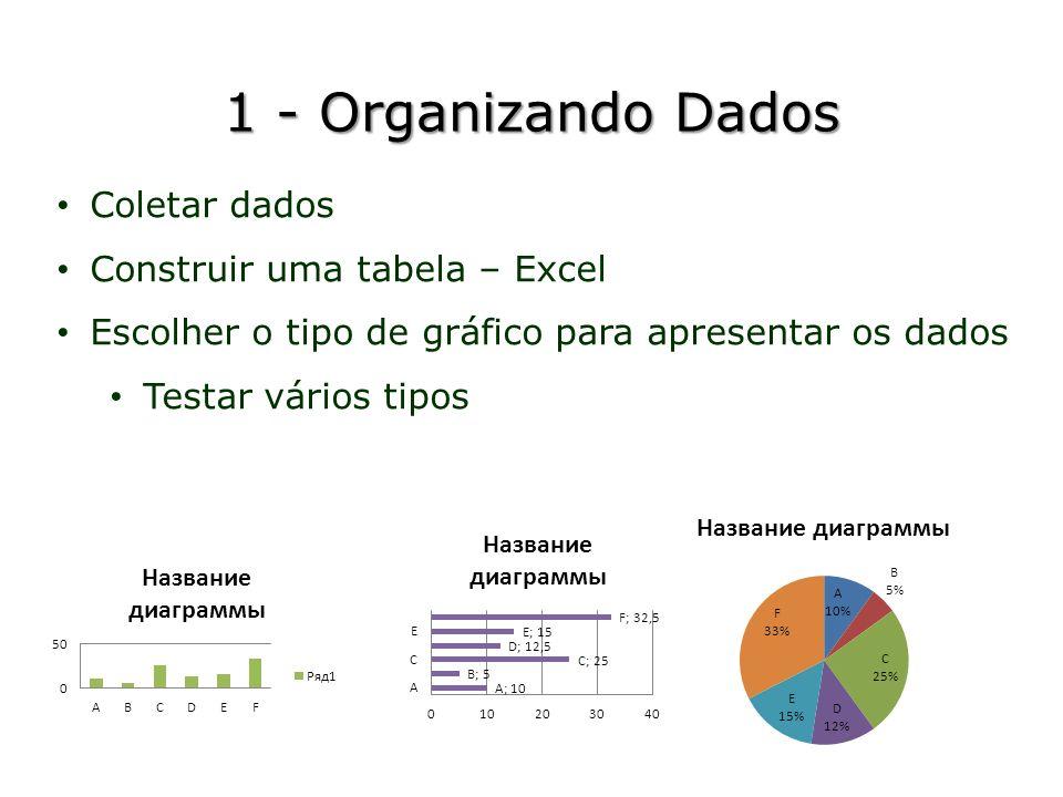 1 - Organizando Dados Coletar dados Construir uma tabela – Excel