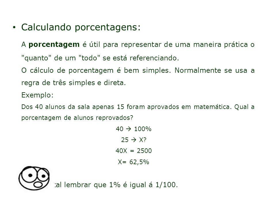 Calculando porcentagens: