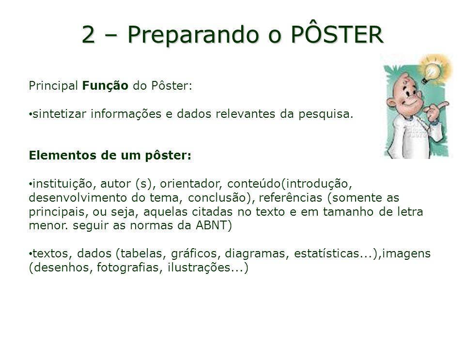 2 – Preparando o PÔSTER Principal Função do Pôster: