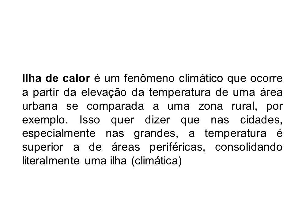 Ilha de calor é um fenômeno climático que ocorre a partir da elevação da temperatura de uma área urbana se comparada a uma zona rural, por exemplo.