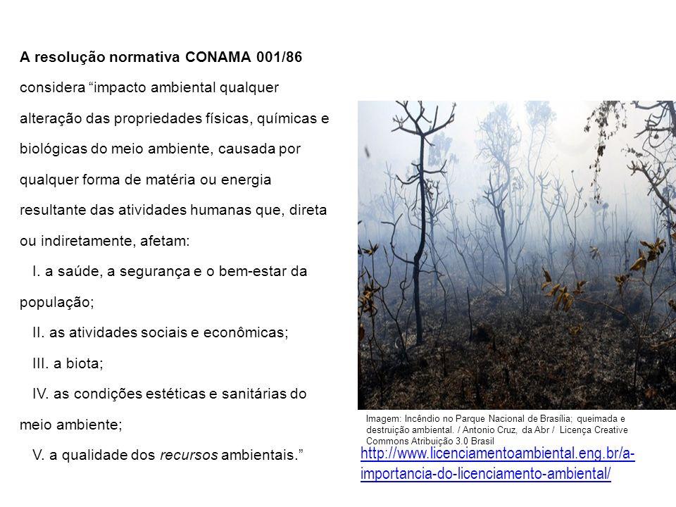 A resolução normativa CONAMA 001/86 considera impacto ambiental qualquer alteração das propriedades físicas, químicas e biológicas do meio ambiente, causada por qualquer forma de matéria ou energia resultante das atividades humanas que, direta ou indiretamente, afetam: