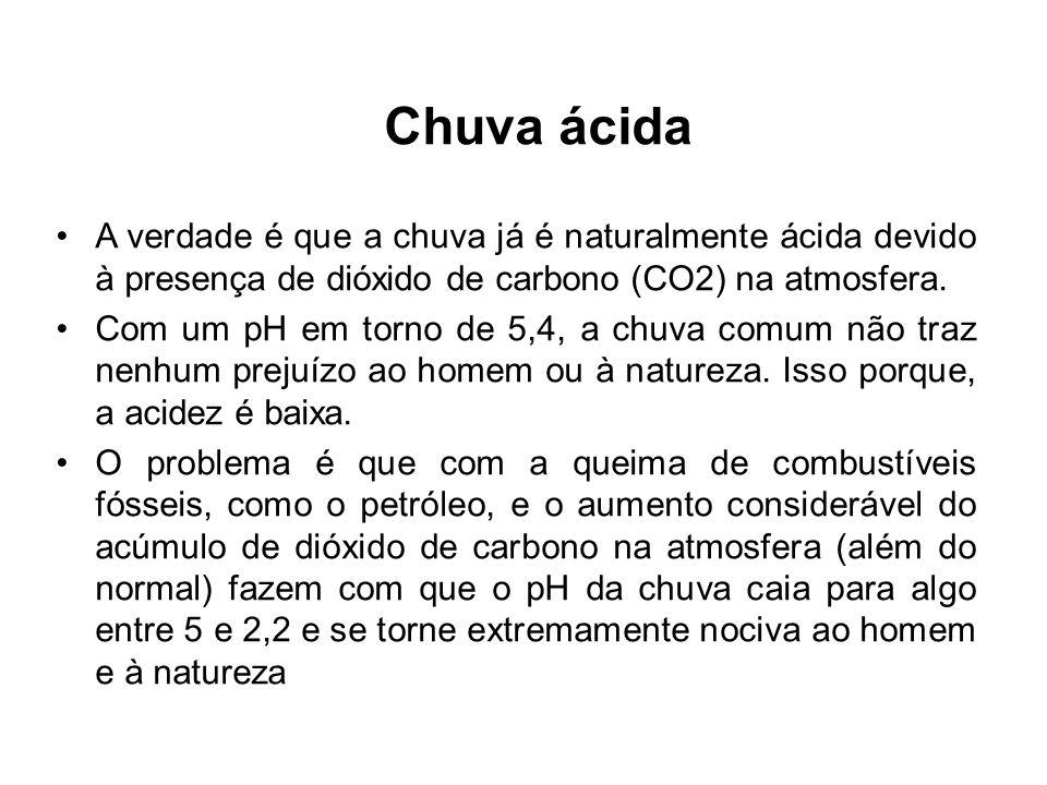 Chuva ácida A verdade é que a chuva já é naturalmente ácida devido à presença de dióxido de carbono (CO2) na atmosfera.