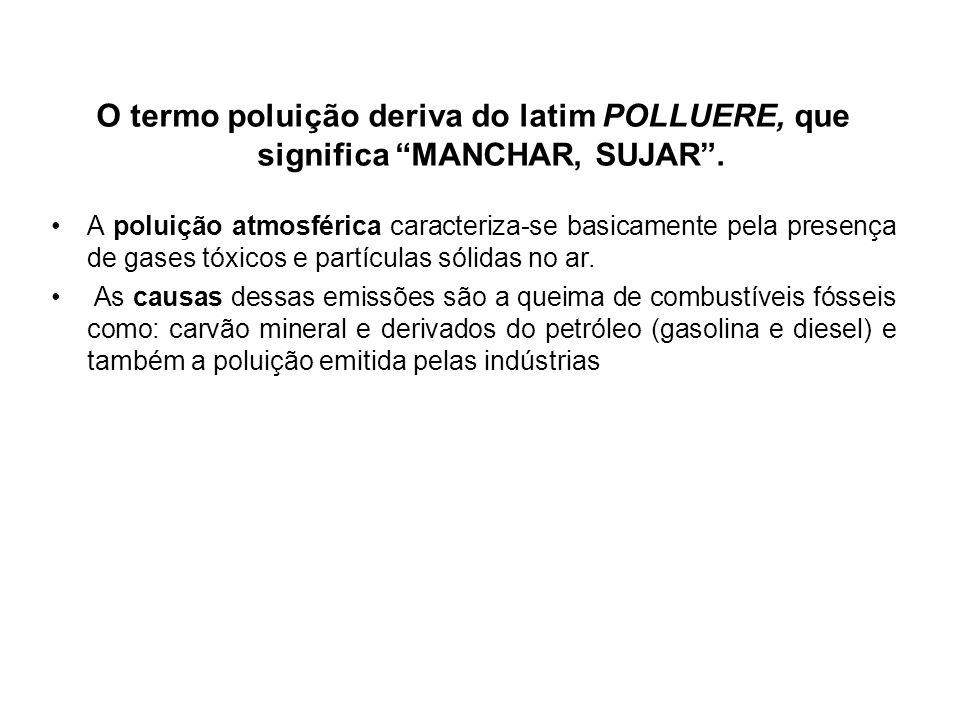 O termo poluição deriva do latim POLLUERE, que significa MANCHAR, SUJAR .