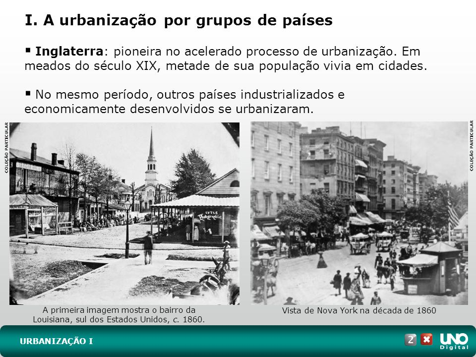 I. A urbanização por grupos de países