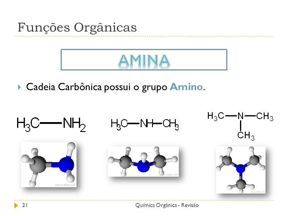Amina Funções Orgânicas Cadeia Carbônica possui o grupo Amino.