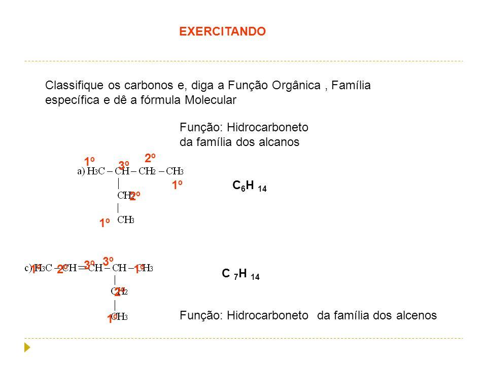 EXERCITANDO Classifique os carbonos e, diga a Função Orgânica , Família específica e dê a fórmula Molecular.