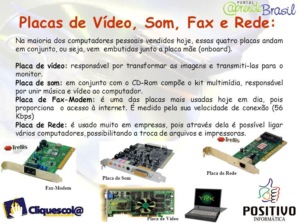 Placas de Vídeo, Som, Fax e Rede: