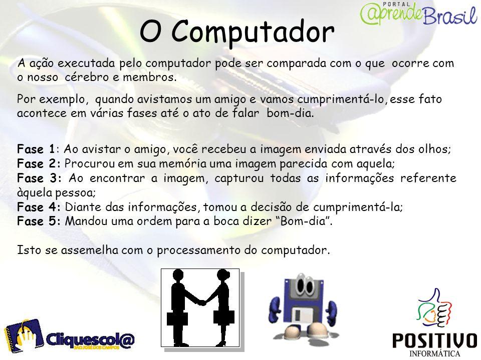 O Computador A ação executada pelo computador pode ser comparada com o que ocorre com o nosso cérebro e membros.