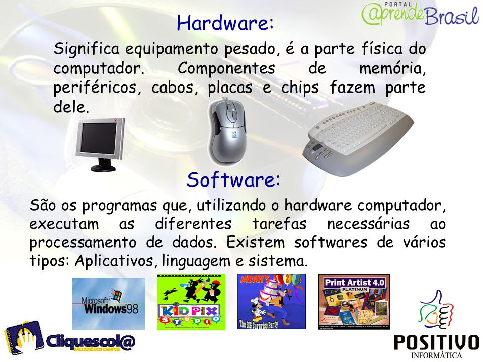 Hardware: Significa equipamento pesado, é a parte física do computador. Componentes de memória, periféricos, cabos, placas e chips fazem parte dele.