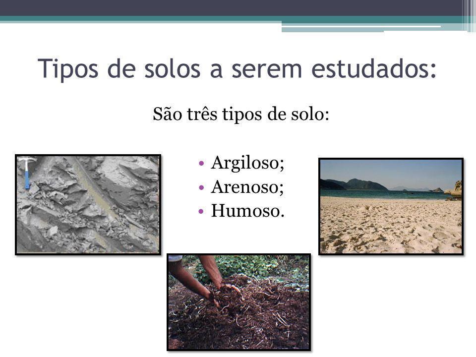 Tipos de solos a serem estudados: