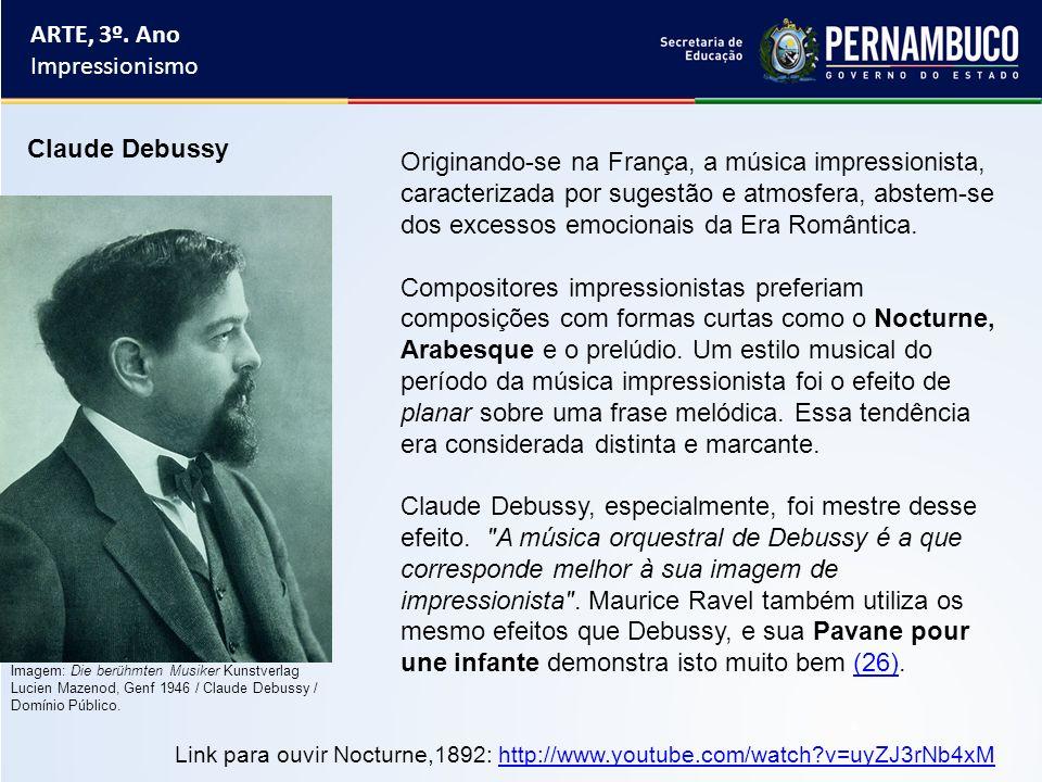ARTE, 3º. Ano Impressionismo Claude Debussy