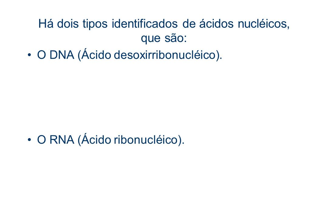 Há dois tipos identificados de ácidos nucléicos, que são: