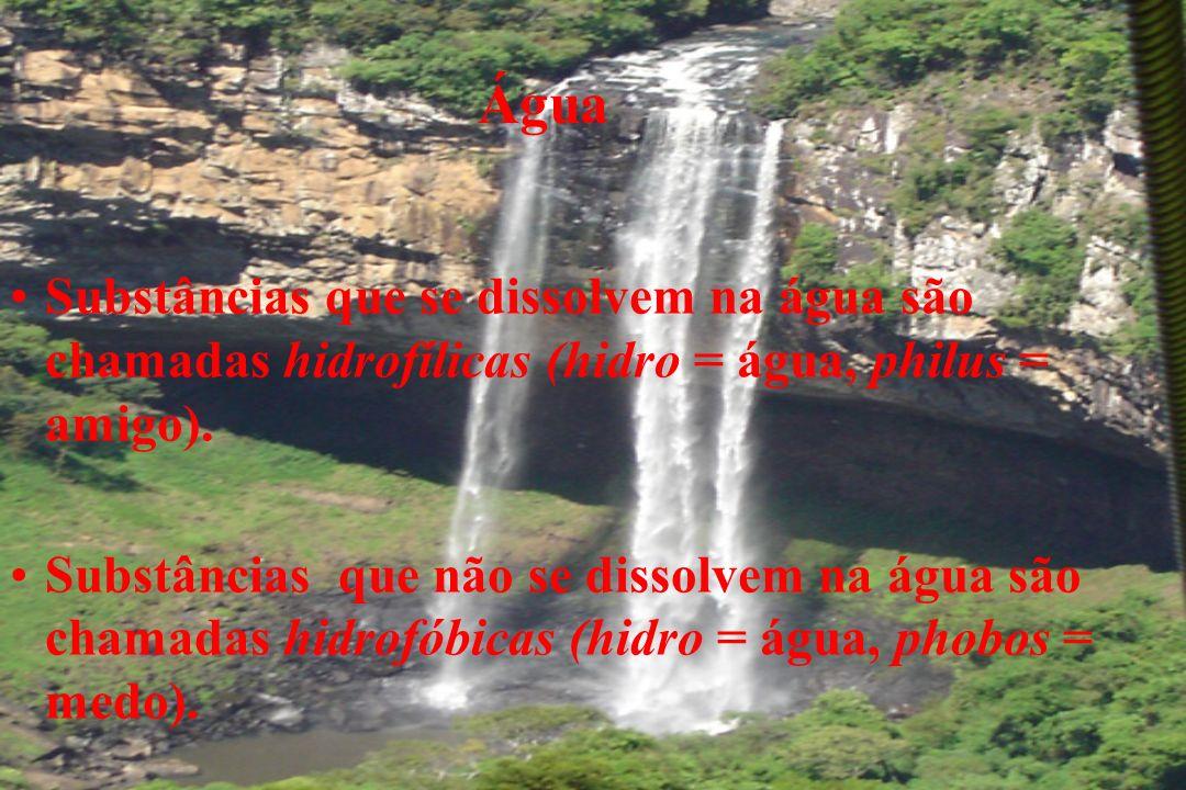 Água Substâncias que se dissolvem na água são chamadas hidrofílicas (hidro = água, philus = amigo).