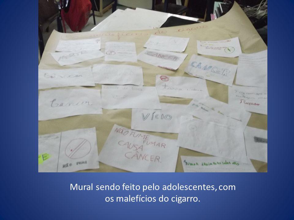 Mural sendo feito pelo adolescentes, com os malefícios do cigarro.