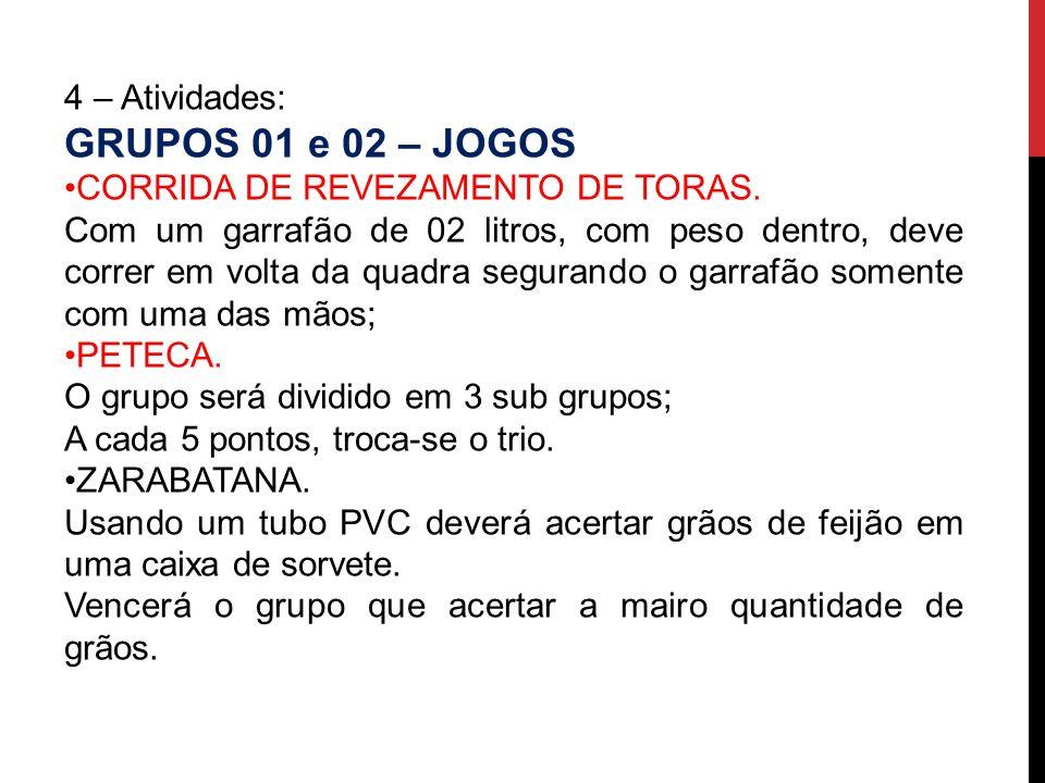 GRUPOS 01 e 02 – JOGOS 4 – Atividades: