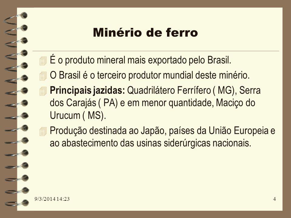 Minério de ferro É o produto mineral mais exportado pelo Brasil.