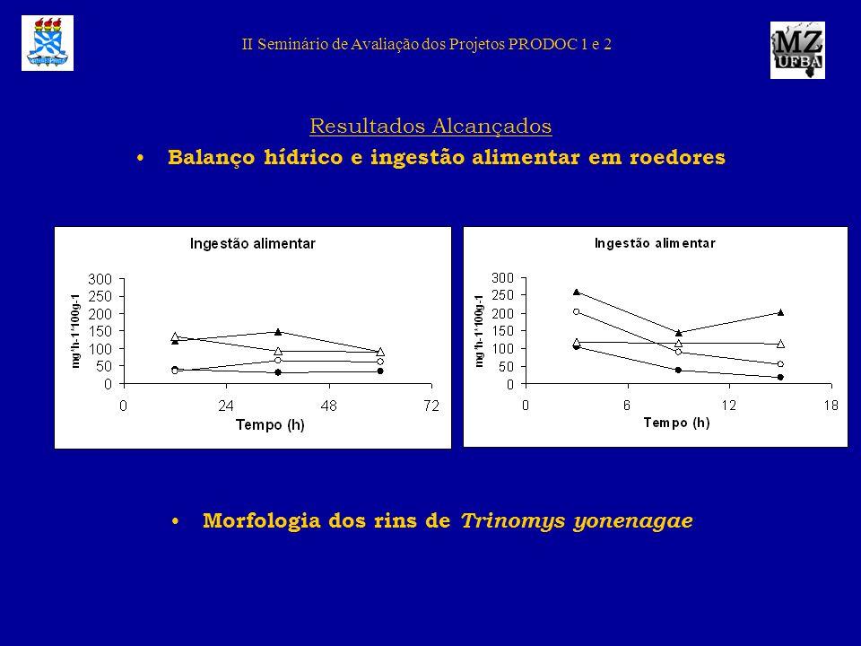 Resultados Alcançados Balanço hídrico e ingestão alimentar em roedores