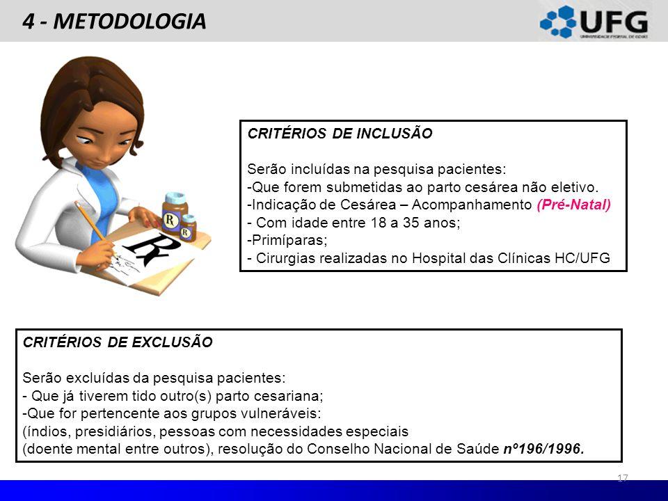 4 - METODOLOGIA CRITÉRIOS DE INCLUSÃO