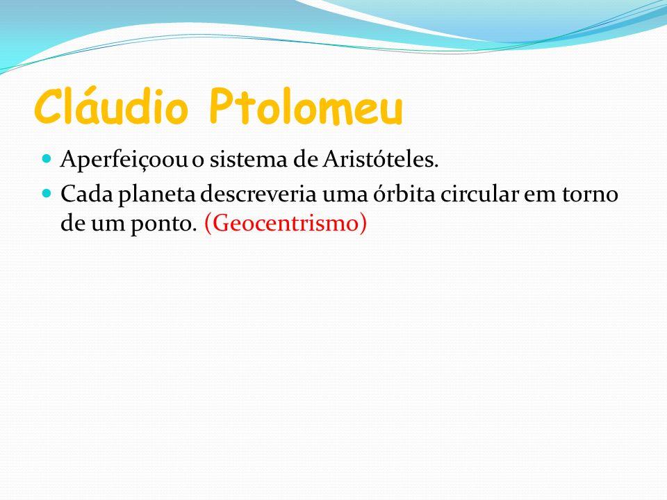Cláudio Ptolomeu Aperfeiçoou o sistema de Aristóteles.