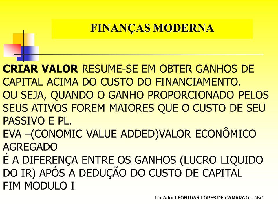 FINANÇAS MODERNA CRIAR VALOR RESUME-SE EM OBTER GANHOS DE CAPITAL ACIMA DO CUSTO DO FINANCIAMENTO.