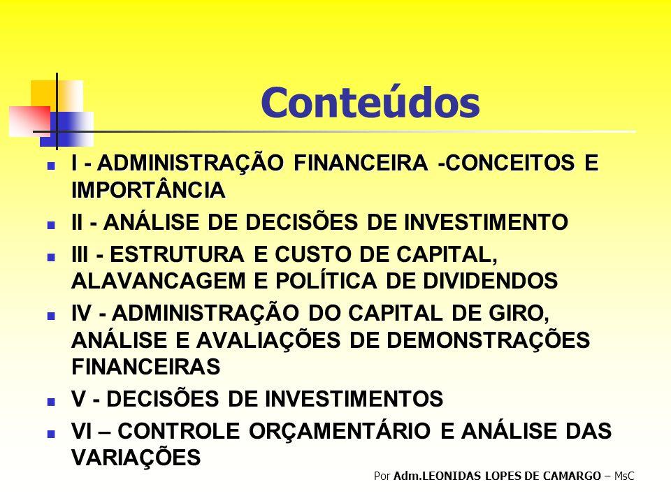 Conteúdos I - ADMINISTRAÇÃO FINANCEIRA -CONCEITOS E IMPORTÂNCIA