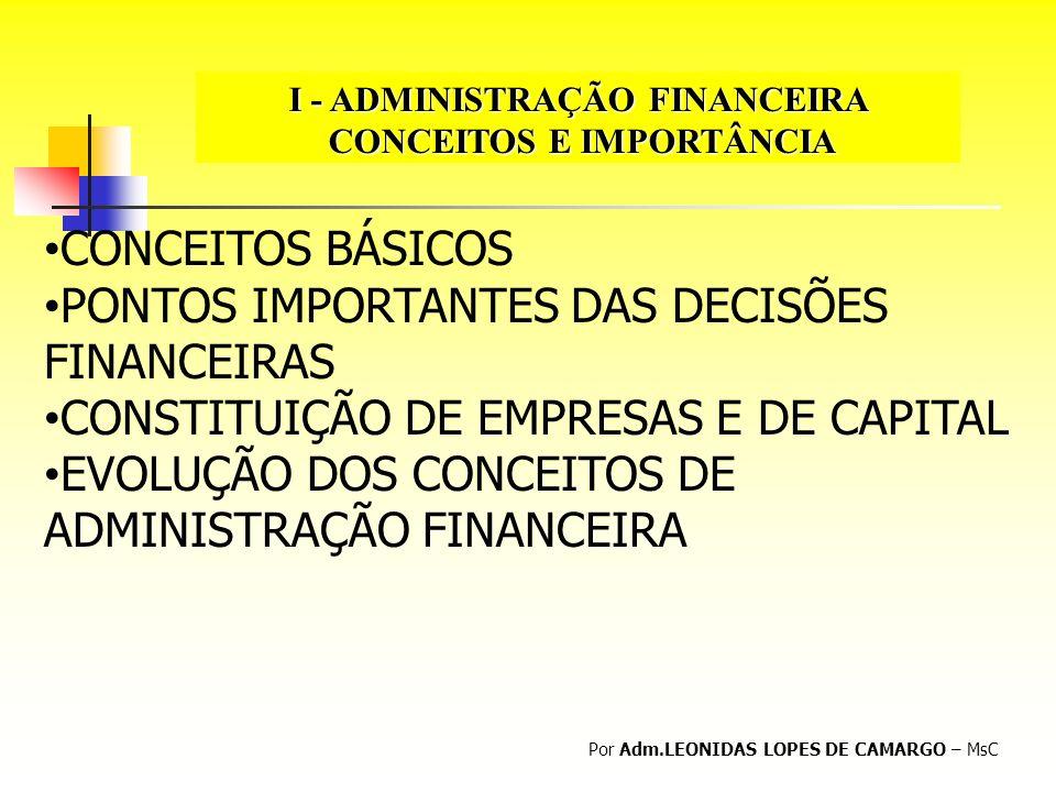 I - ADMINISTRAÇÃO FINANCEIRA CONCEITOS E IMPORTÂNCIA