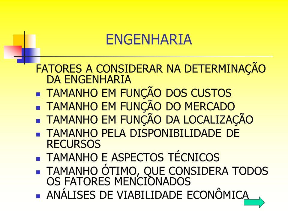 ENGENHARIA FATORES A CONSIDERAR NA DETERMINAÇÃO DA ENGENHARIA