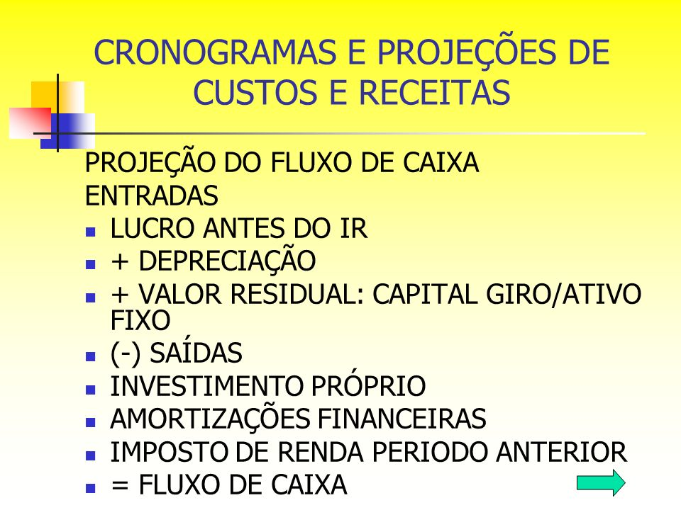 CRONOGRAMAS E PROJEÇÕES DE CUSTOS E RECEITAS