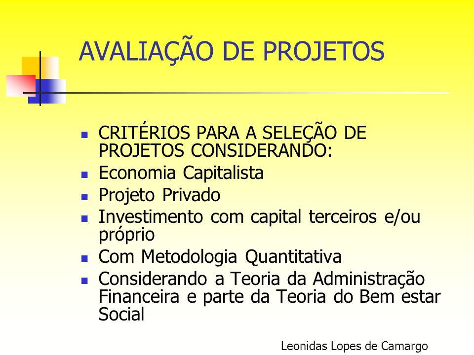 AVALIAÇÃO DE PROJETOS CRITÉRIOS PARA A SELEÇÃO DE PROJETOS CONSIDERANDO: Economia Capitalista. Projeto Privado.